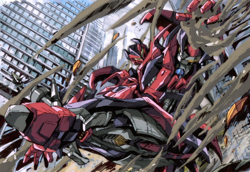 1980s_(style) 1boy autobot building dust highres kicking looking_down marble-v mecha mirage_(transformers) open_hand retro_artstyle skyscraper solo transformers transformers:_dark_of_the_moon transformers_(live_action) visor