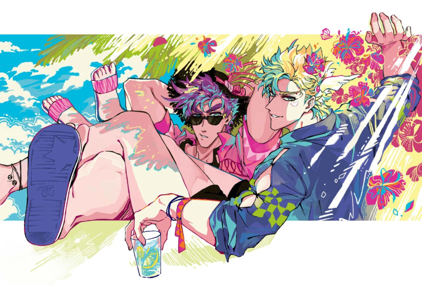 2boys alternate_costume anklet battle_tendency black_shorts black_tank_top bracelet caesar_anthonio_zeppeli clacker colorful crossed_legs cup day drink drinking_glass eyebrows_behind_hair facial_mark flip-flops flower food fourth_wall fruit hat holding holding_cup holding_drink jewelry jojo_no_kimyou_na_bouken joseph_joestar_(young) legs_on_another's_lap lemon lemon_slice light_smile looking_at_viewer looking_back looking_over_eyewear male_focus multicolored multicolored_eyes multicolored_hair multiple_boys nigelungdayo no_headband sandals shorts sleeves_pushed_up summer sun_hat sunglasses tank_top toes tropical wing_hair_ornament winged_hair_ornament