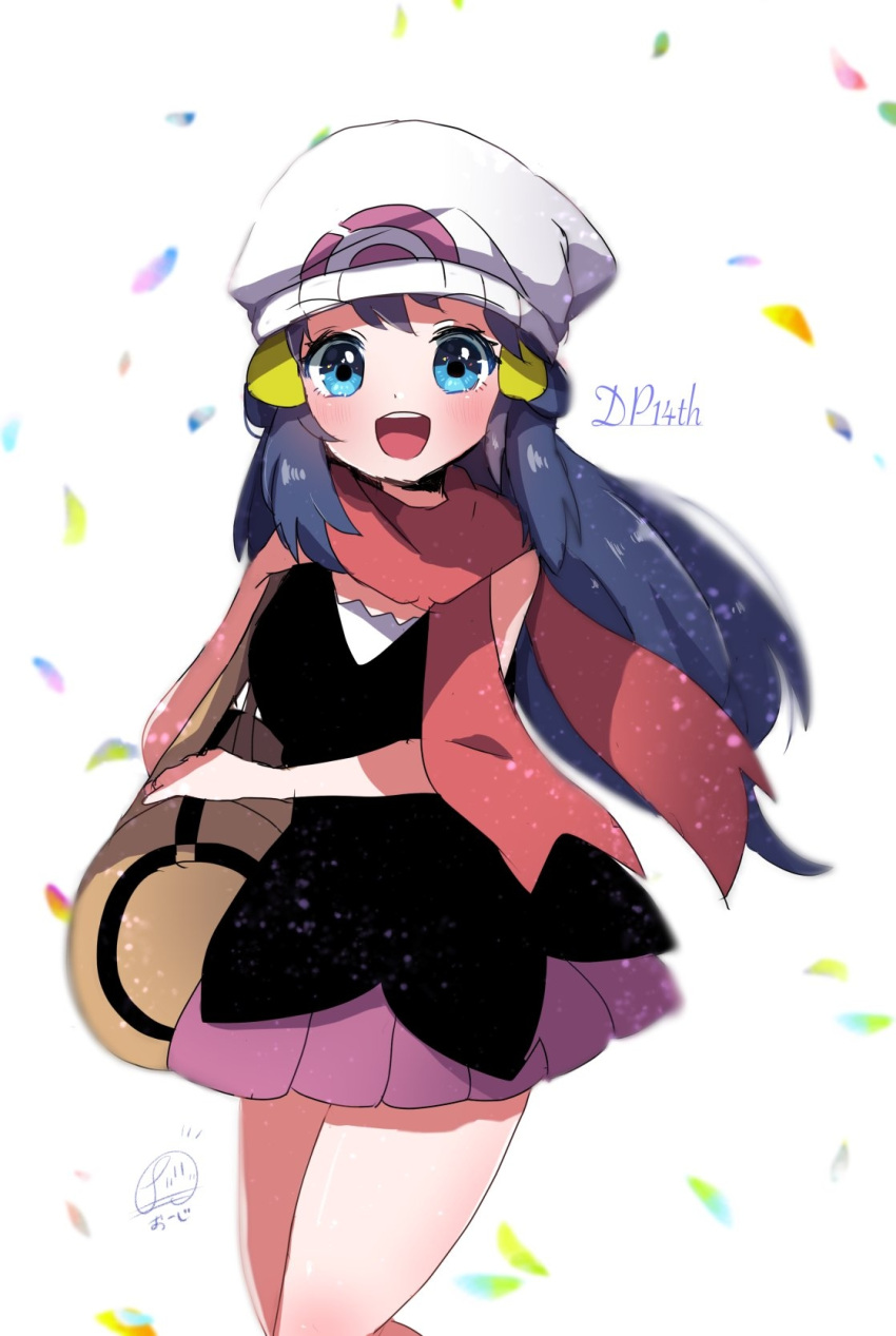 1girl :d bag bare_shoulders beanie blue_eyes blue_hair blurry blush breasts commentary_request cowboy_shot dawn_(pokemon) depth_of_field hat herunia_kokuoji highres long_hair looking_at_viewer medium_breasts open_mouth petals pink_skirt pokemon pokemon_(game) pokemon_dppt scarf shoulder_bag signature simple_background skirt sleeveless smile solo upper_teeth white_background white_headwear