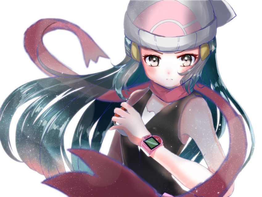 1girl bare_shoulders beanie black_hair blurry blush breasts closed_mouth dawn_(pokemon) depth_of_field frown grey_eyes hat holding holding_poke_ball light_particles long_hair looking_at_viewer poke_ball pokedex pokemon pokemon_(game) pokemon_dppt red_scarf rock_mani scarf sidelocks simple_background sleeveless small_breasts solo upper_body v-shaped_eyebrows very_long_hair white_background white_headwear