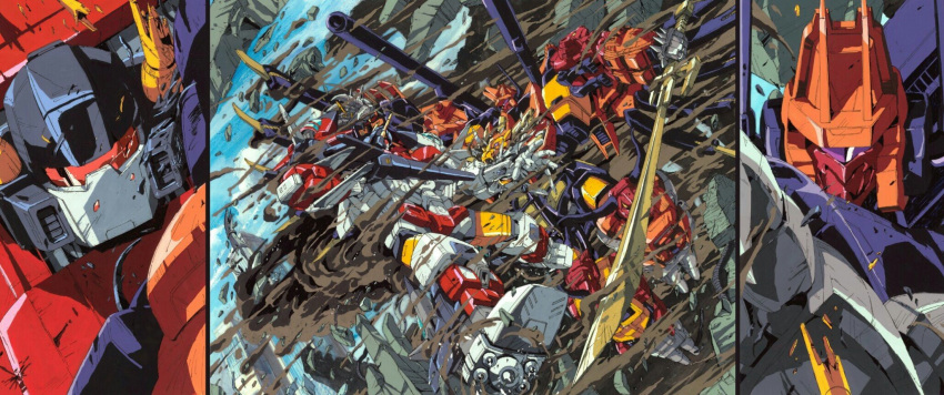 1980s_(style) 2boys arm_cannon autobot battle broken cannon clenched_hands commentary damaged decepticon duel fighting glowing gun highres holding holding_gun holding_sword holding_weapon horns machinery marble-v mecha mechanical_parts mechanical_wings multiple_boys no_humans predaking red_eyes retro_artstyle robot science_fiction smoke superion sword transformers translation_request violet_eyes visor weapon wings