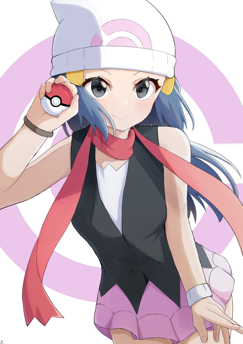 1girl absurdres aftamc bare_shoulders beanie black_vest blue_eyes blue_hair blush bracelet breasts closed_mouth cowboy_shot dawn_(pokemon) dutch_angle fingernails hand_up hat highres holding holding_poke_ball jewelry leaning_forward long_hair pink_skirt poke_ball pokemon pokemon_(game) pokemon_dppt red_scarf scarf sidelocks simple_background skirt sleeveless small_breasts smile solo standing v-shaped_eyebrows vest white_background white_headwear