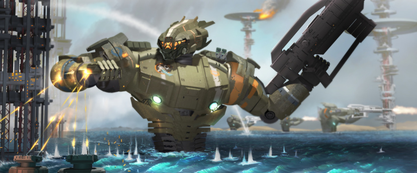 clenched_hand decal fire firing gun highres holding holding_gun holding_weapon looking_down mecha no_humans ocean original pyraker science_fiction shell_casing solo_focus turret visor waves weapon