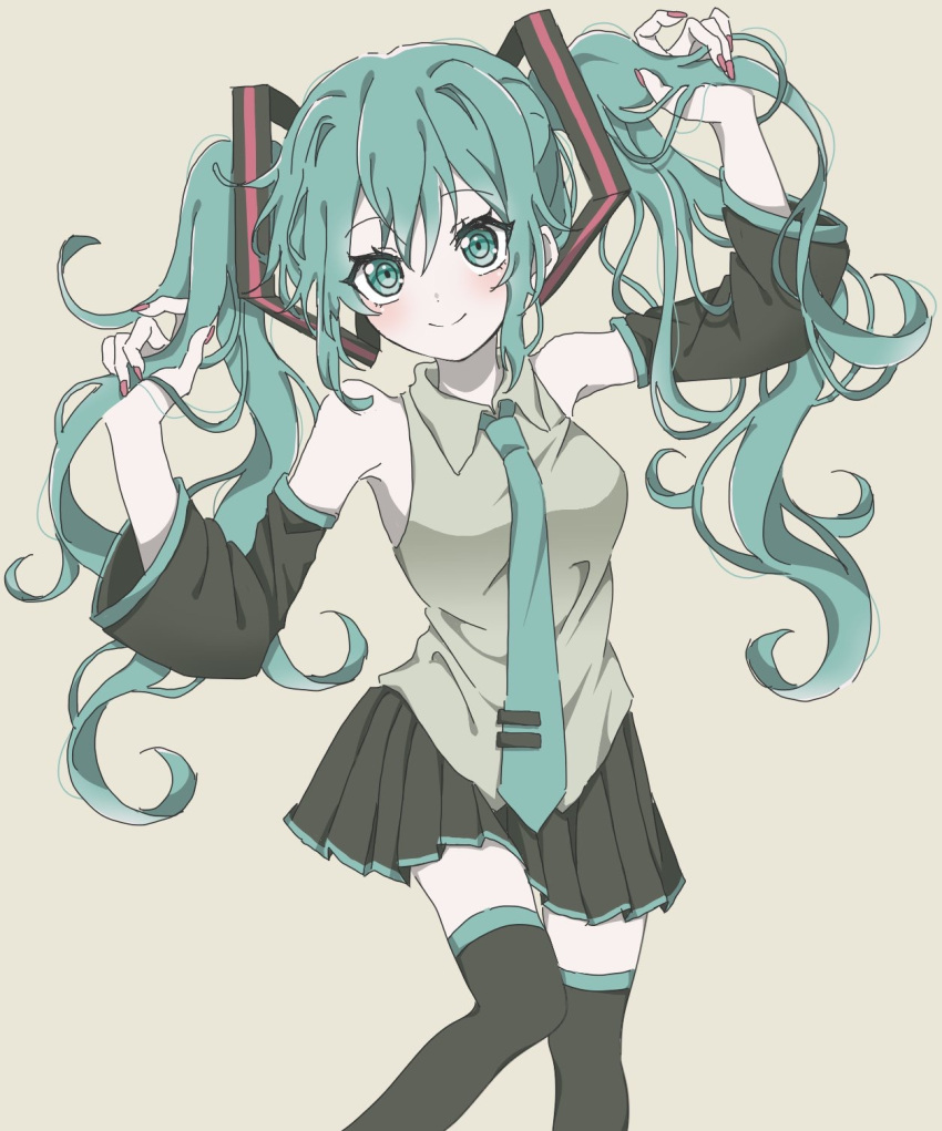 azuki_(ckxs7444) blue_eyes blue_hair bunching_hair detached_sleeves hatsune_miku highres long_hair necktie skirt tagme thigh-highs twintails vocaloid zettai_ryouiki