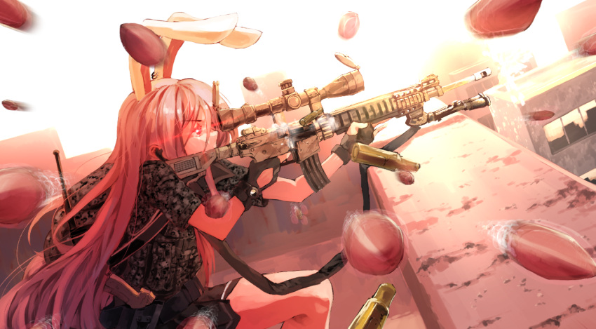 1girl ammunition_belt animal_ears assault_rifle bangs black_gloves black_skirt bullet camouflage commentary_request covered_mouth danmaku finger_on_trigger fingerless_gloves from_side frown gloves glowing glowing_eyes gun holding holding_gun holding_weapon incoming_attack light_purple_hair long_hair military military_uniform pink_eyes profile rabbit_ears red_eyes reisen_udongein_inaba rifle rooftop shell_casing short_sleeves skirt sniper_rifle solo strap sunyup tagme touhou uniform weapon weapon_request