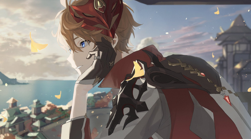 1boy bangs black_gloves blue_eyes blurry blurry_background building childe_(genshin_impact) chin_rest clouds day genshin_impact gloves hair_between_eyes highres jacket leaf male_focus mask mask_on_head mountain ocean orange_hair outdoors poi_poifu sky solo upper_body water