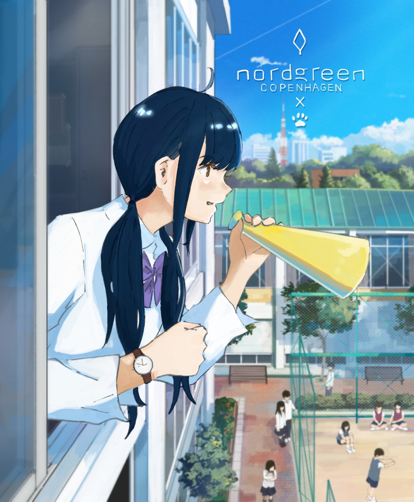 6+girls bangs black_hair blunt_bangs clouds day highres leaning_forward long_hair megaphone multiple_girls outdoors sakura_inu_(itoyatomo) scenery school school_uniform shirt summer watch watch white_shirt window
