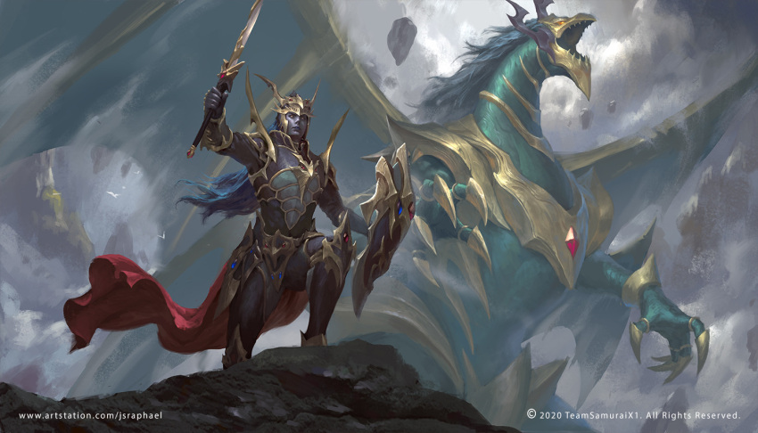 1boy armor black_luster_soldier black_luster_soldier_envoy_of_the_beginning blue_hair blue_skin cape chaos_emperor_dragon_-_envoy_of_the_end dragon duel_monster english_commentary holding holding_shield holding_sword holding_weapon joshua_raphael male_focus red_cape rock shield sky standing sword waist_cape watermark weapon web_address yu-gi-oh!