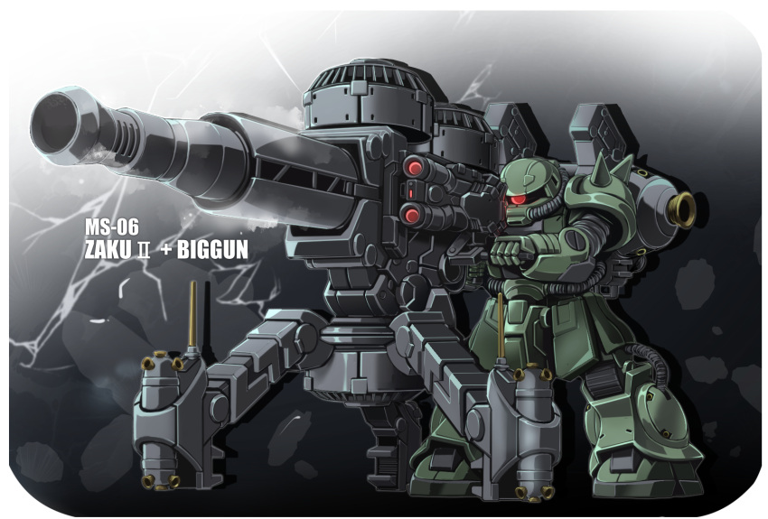 aiming character_name gun gundam gundam_thunderbolt highres holding holding_gun holding_weapon looking_ahead mecha no_humans one-eyed red_eyes sibelurabbi solo spikes turret weapon zaku_ii zeon