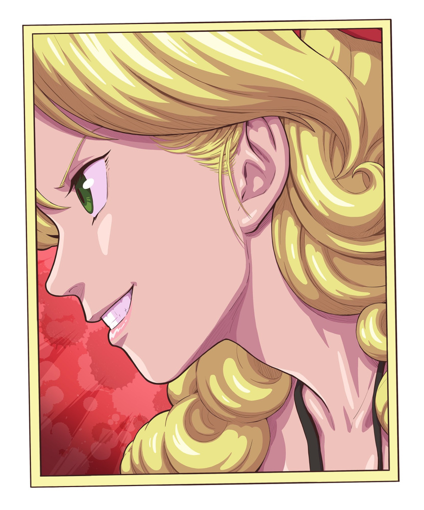 1girl blonde_hair border curly_hair dragon_ball dragon_ball_(classic) from_side green_eyes grin highres long_hair lunch_(dragon_ball) portrait profile red_background sakkan smile solo white_border yellow_border