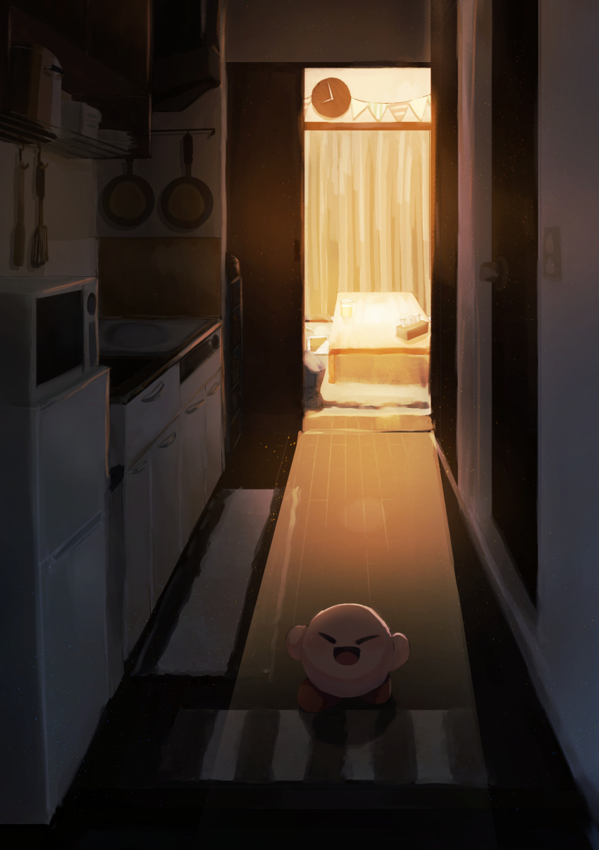 1boy :d absurdres closed_eyes commentary_request dark_room door fen_fen_fen_fen highres indoors kirby kirby_(series) kitchen microwave open_door open_mouth pot refrigerator sink smile stove table tissue_box