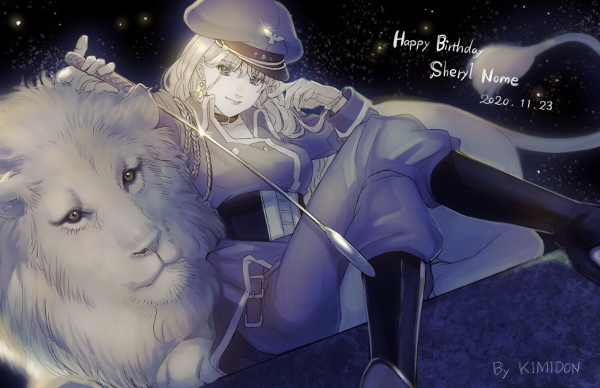 1girl artist_name blue_eyes character_name corset dated happy_birthday hat holding holding_whip kimidori_(kimidoriri) lion long_hair looking_at_viewer macross macross_frontier monochrome sheryl_nome sitting smile solo spot_color uniform