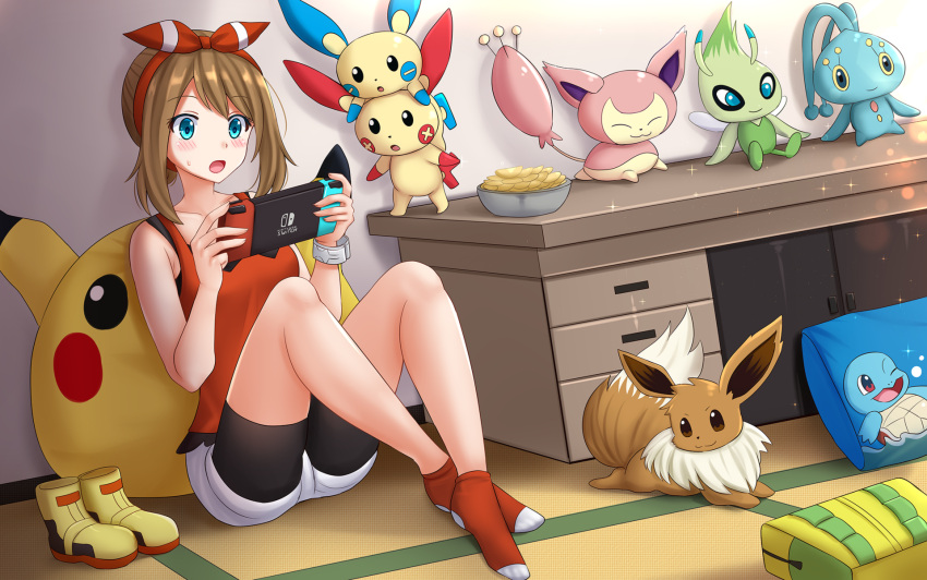 1girl ankle_socks bag bangs bare_arms bare_shoulders bike_shorts bike_shorts_under_shorts black_shorts blue_eyes blush boots boots_removed bowl brown_hair celebi chips commentary commission crossed_ankles desk eevee eyebrows_visible_through_hair food gen_1_pokemon gen_2_pokemon gen_3_pokemon gen_4_pokemon hairband hands_up highres holding indoors kazenokaze knees_up manaphy may_(pokemon) minun mythical_pokemon nintendo_switch on_floor open_mouth pikachu pillow plusle pokemon pokemon_(creature) pokemon_(game) pokemon_rse potato_chips red_hairband red_legwear red_tank_top short_shorts shorts shorts_under_shorts sidelocks sitting skitty squirtle sweat tank_top white_shorts yellow_footwear