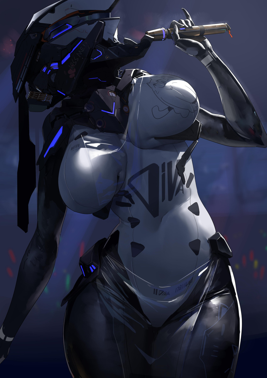 1girl absurdres android blurry blurry_background breasts english_commentary helmet highres holding holding_microphone large_breasts light_stick looking_up microphone navel no_humans original pinky_out robot science_fiction shizuoxing_kof solo thick_thighs thighs visor