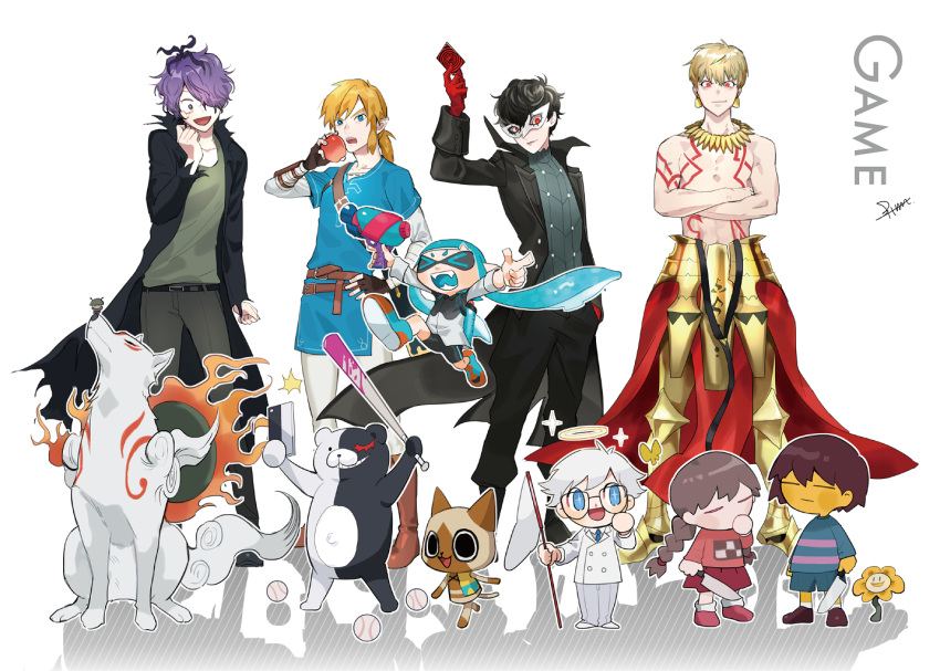 >_< 1girl 1other 5boys amamiya_ren amaterasu animal_crossing apple armor atlus ball bangs baseball baseball_bat bear black_coat black_hair blonde_hair blood blue_eyes blue_hair body_markings braid brown_hair btmr_game bug butterfly butterfly_net capcom cat closed_eyes closed_mouth coat crossed_arms crossover danganronpa domino_mask earrings fangs fate/grand_order fate/stay_night fate_(series) felyne fingerless_gloves flower flowey_(undertale) food frisk_(undertale) fruit garry_(ib) gilgamesh gloves hair_over_one_eye halo hand_net holding holding_food holding_fruit holding_knife ib inkling insect jewelry knife link long_hair long_sleeves madotsuki mask megami_tensei monokuma monster_hunter multiple_boys nintendo nintendo_ead ookami_(game) open_mouth p-studio pants persona persona_5 ponytail purple_hair red_eyes red_skirt sega shirt simple_background skirt sora_(company) splatoon_(series) striped striped_shirt super_smash_bros. tentacle_hair the_legend_of_zelda the_legend_of_zelda:_breath_of_the_wild toby_fox_(publisher) tokyo_mx tunic twin_braids type-moon ufotable undertale white_background wolf yume_nikki