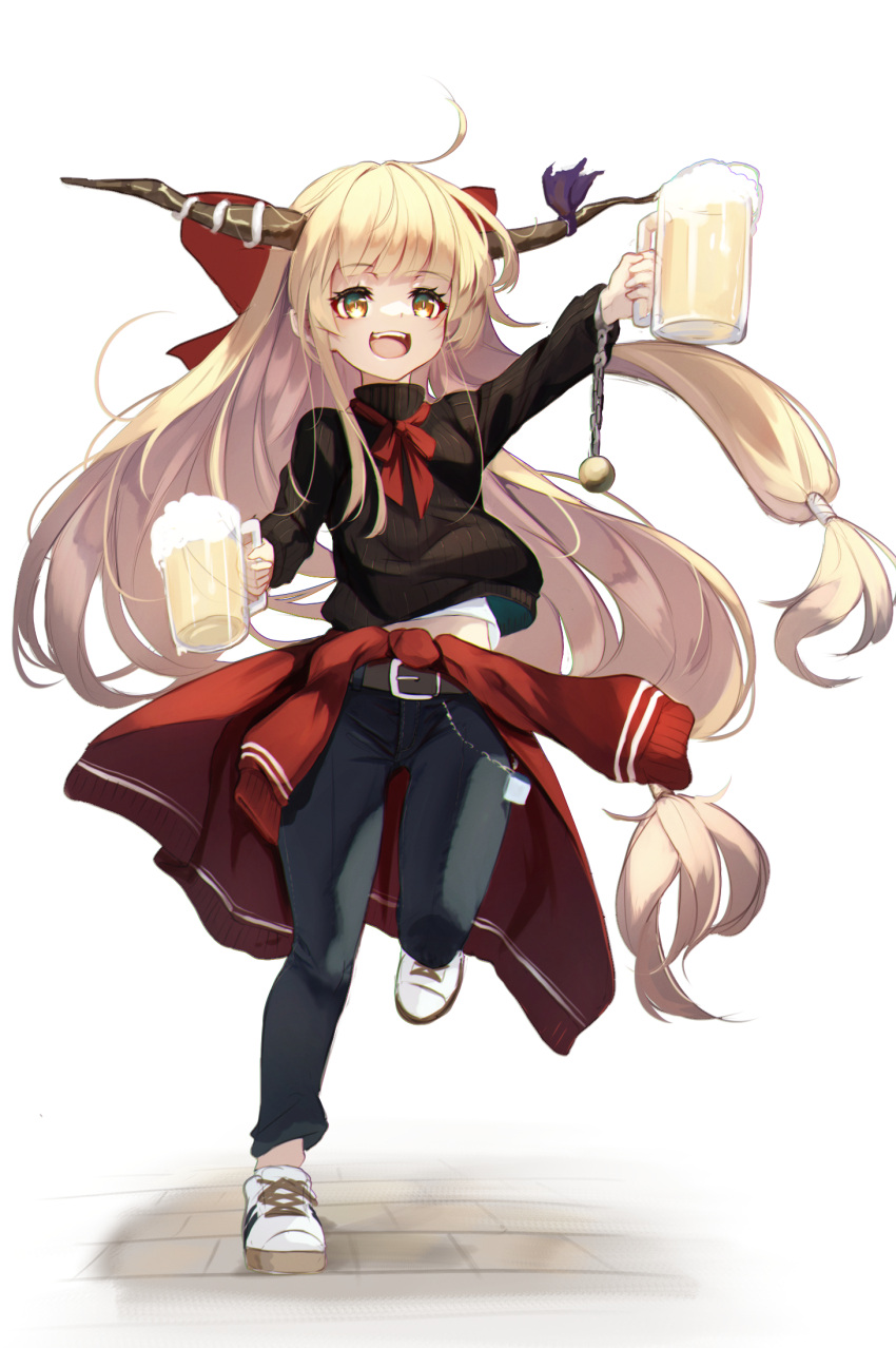 :d ahoge alcohol beer beer_mug belt black_sweater blonde_hair bow brick_floor brown_belt casual clothes_around_waist commentary_request cuffs cup denim eyebrows_visible_through_hair full_body hair_bow highres holding holding_cup horn_ornament horn_ribbon horns ibuki_suika jeans long_hair lumo_1121 midriff_peek mug neck_ribbon oni_horns open_mouth pants red_bow red_neckwear red_ribbon red_sweater ribbon shackles shoes simple_background smile sneakers sweater sweater_around_waist touhou very_long_hair white_background white_footwear yellow_eyes