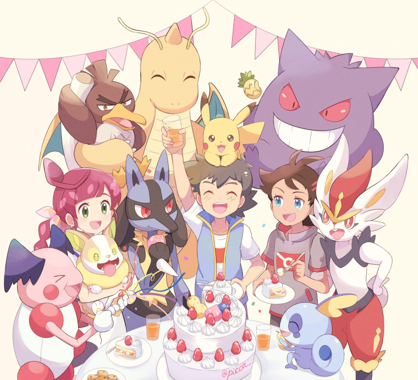1girl 2boys antenna_hair arm_up ash_ketchum bangs berry_(pokemon) blue_eyes brown_hair cake cake_slice chloe_(pokemon) cinderace closed_eyes commentary_request cookie cup dragonite eyelashes food fork galarian_farfetch'd galarian_form gen_1_pokemon gen_4_pokemon gen_8_pokemon gengar glass goh_(pokemon) hair_ornament highres holding holding_cup holding_fork holding_pokemon long_hair lucario mei_(maysroom) mr._mime multiple_boys open_mouth party_popper pikachu plate pokemon pokemon_(anime) pokemon_(creature) pokemon_swsh_(anime) redhead shirt short_sleeves sleeveless sleeveless_jacket smile sobble teeth tongue white_shirt yamper