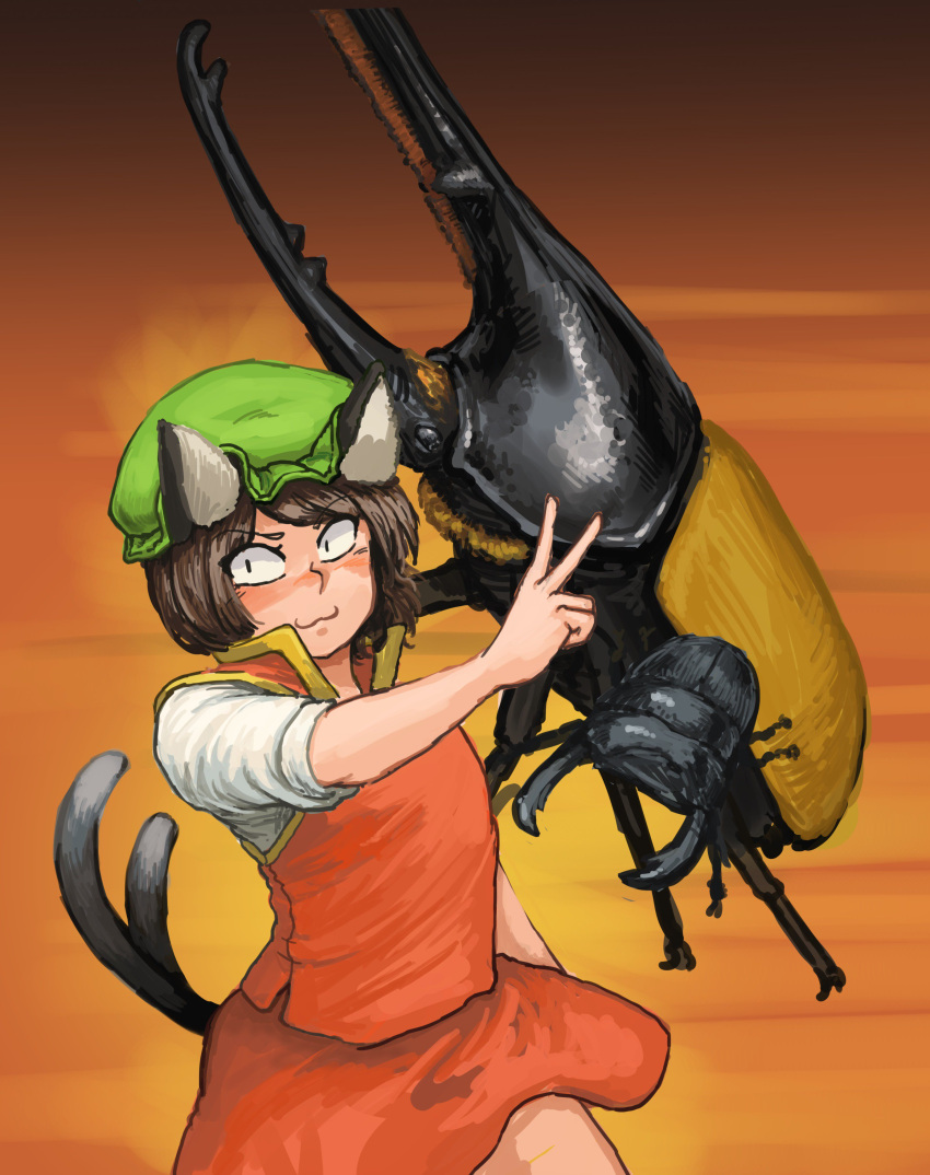 1girl :3 absurdres animal animal_ears bob_cut brown_hair cat_ears cat_tail chanta_(ayatakaoisii) chen closed_mouth flat_chest green_headwear hand_up hat highres medium_hair multiple_tails nekomata orange_background oversized_animal red_skirt red_vest rhinoceros_beetle shirt short_sleeves skirt slit_pupils solo tail touhou two_tails v vest white_shirt