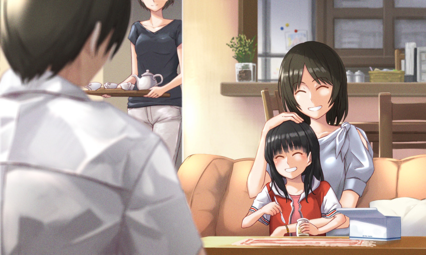 1boy 3girls :d ^_^ alternate_hair_length alternate_hairstyle amagami apartment ayatsuji_tsukasa bangs black_hair black_shirt blunt_bangs blurry blurry_foreground blush bob_cut box breasts brother_and_sister center_part chair child closed_eyes collarbone commentary couch couple cup depth_of_field dress_shirt family father_and_daughter film_grain from_behind grin head_out_of_frame holding holding_jar holding_spoon holding_tray hood hood_down hoodie husband_and_wife indoors jar kaoru348 light_smile long_hair medium_hair mother_and_daughter multiple_girls older on_lap open_mouth pants pink_shirt plant potted_plant red_hoodie shirt short_hair short_sleeves siblings sitting sitting_on_person small_breasts smile spoon table tachibana_jun'ichi tachibana_miya teacup teapot tray white_hoodie white_legwear white_shirt