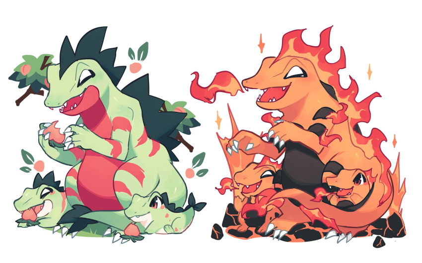 alternate_color berry_(pokemon) brown_eyes charamells claws closed_mouth commentary croconaw english_commentary fangs feraligatr fire flame gen_2_pokemon grass highres holding no_humans open_mouth pokemon pokemon_(creature) red_eyes smile tongue totodile white_background