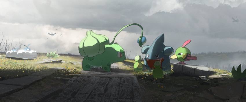 absurdres altaria asteroid_ill budew bulbasaur commentary_request day drooling fangs gen_1_pokemon gen_2_pokemon gen_3_pokemon gen_4_pokemon gible grass highres holding natu no_humans oddish outdoors pokemon pokemon_(creature) red_eyes saliva shade swablu