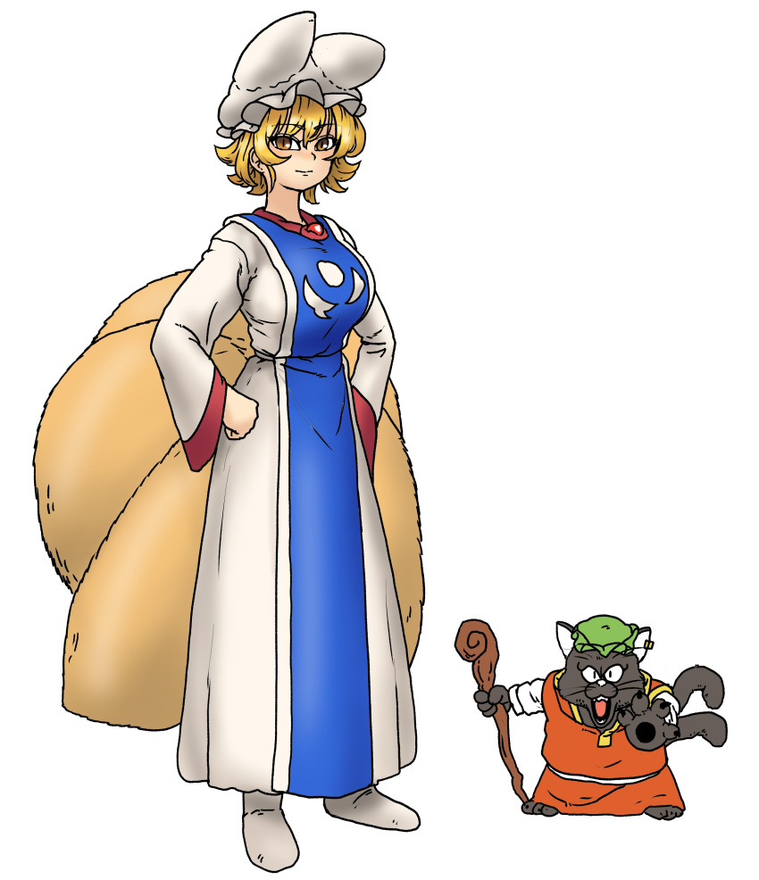 1girl absurdres animal_ears blonde_hair breasts brooch cat_ears cat_tail chanta_(ayatakaoisii) character_request chen chen_(cat) closed_mouth dragon_quest earrings fox_ears fox_tail green_headwear hands_on_hips hat highres holding holding_staff jewelry large_breasts long_skirt long_sleeves looking_at_viewer mob_cap multiple_tails nekomata open_mouth parody pillow_hat shirt simple_background skirt slit_pupils smile socks staff tabard tail touhou two_tails white_background white_headwear white_legwear white_shirt white_skirt wide_sleeves yakumo_ran yellow_eyes