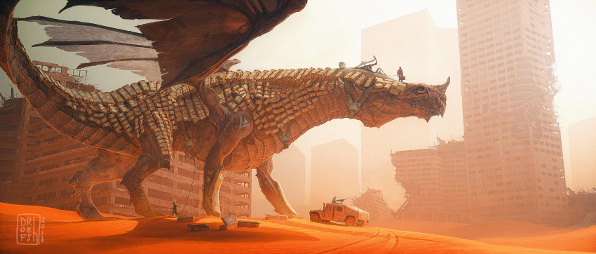 absurdres building commentary dated desert dofresh dragon english_commentary highres orange_theme original people ruins sand scenery signature skyscraper