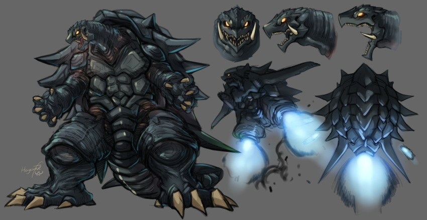 absurdres artist_name character_sheet flying gamera gamera_(series) glowing glowing_eyes grey_background haganef highres kaijuu looking_ahead no_humans open_hands open_mouth redesign sharp_teeth signature teeth yellow_eyes
