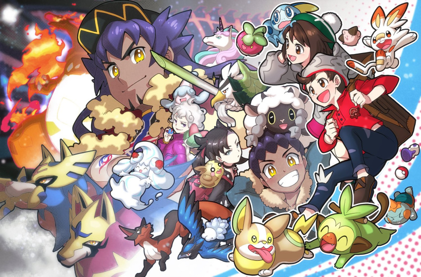 2girls 4boys ahoge asymmetrical_bangs backpack bag bangs baseball_cap beanie bede_(pokemon) black_choker black_hair black_headwear black_jacket blue_jacket bob_cut bounsweet brown_bag brown_eyes brown_footwear brown_hair cable_knit cape cardigan champion_uniform charizard chewtle choker cleffa closed_mouth coat commentary_request corvisquire curly_hair dark_skin dark_skinned_male denim dynamax_band facial_hair fire fur-trimmed_cape fur-trimmed_jacket fur_trim galarian_form galarian_rapidash gen_1_pokemon gen_2_pokemon gen_3_pokemon gen_7_pokemon gen_8_pokemon gigantamax gigantamax_charizard gloria_(pokemon) great_ball green_eyes green_headwear grey_cardigan grey_headwear grookey hair_ribbon hat hatenna holding holding_poke_ball hop_(pokemon) jacket jeans legendary_pokemon leon_(pokemon) long_hair long_sleeves marnie_(pokemon) morpeko morpeko_(full) multiple_boys multiple_girls nagi_(exsit00) on_head pants poke_ball poke_ball_(basic) pokemon pokemon_(creature) pokemon_(game) pokemon_on_head pokemon_swsh potion_(pokemon) purple_coat purple_hair ralts red_cape red_ribbon red_shirt ribbon scorbunny shirt shoes short_hair sirfetch'd sleeves_rolled_up smile snom sobble starter_pokemon_trio suitcase swept_bangs tam_o'_shanter thievul torn_clothes torn_jeans torn_pants victor_(pokemon) violet_eyes watch watch yamper yellow_eyes zacian zacian_(crowned) zamazenta zamazenta_(crowned)