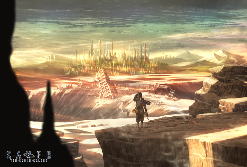 boots car city cliff commentary crater cyberpunk desert ground_vehicle gun highres jacket kazeno landscape looking_afar motor_vehicle mountain original outdoors post-apocalypse robot ruins scenery science_fiction sky smoke truck weapon wind