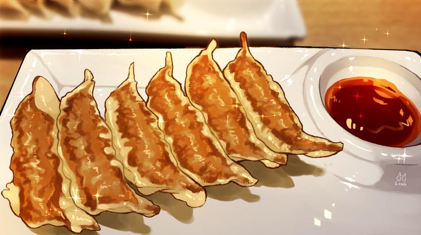 artist_name blurry blurry_background dumpling food highres indoors jiaozi no_humans original p-pigling plate sauce