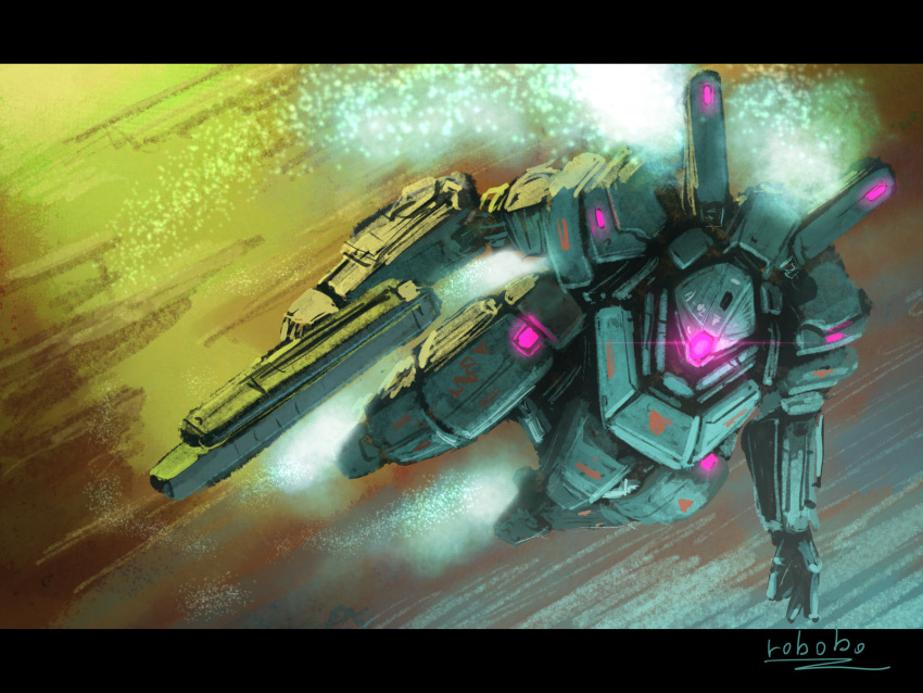 bottoms1237 flying glowing glowing_eye gun highres holding holding_gun holding_weapon looking_ahead mecha no_humans one-eyed open_hand original science_fiction solo violet_eyes weapon