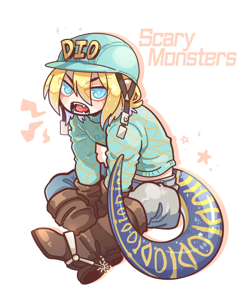 1boy aqua_headwear aqua_sweater blonde_hair blue_eyes blush_stickers boots brown_gloves brown_legwear chinese_commentary cowboy_boots crossed_legs diego_brando dinosaur_tail drop_shadow english_text eyebrows_visible_through_hair eyes_visible_through_hair fangs full_body gloves green_shirt hair_between_eyes hat helmet highres jojo_no_kimyou_na_bouken lightning_bolt looking_at_viewer male_focus open_mouth riding_boots riding_outfit roaring rolrol shirt short_hair sitting solo sparkle spurs star_(symbol) star_in_eye steel_ball_run sweater symbol_in_eye tail turtleneck white_background