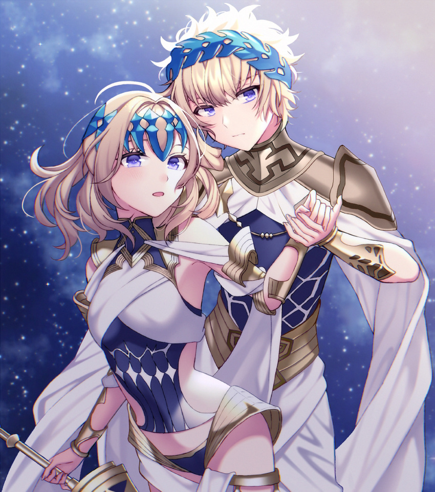1boy 1girl armlet armor bangs bare_shoulders black_shirt blonde_hair blue_eyes blush bracer breasts brother_and_sister castor_(fate/grand_order) closed_mouth collar diadem fate/grand_order fate_(series) faulds halter_top halterneck highres holding_hands ichiko_(fraisecandy_15) looking_at_viewer medium_hair metal_collar open_mouth pauldrons pollux_(fate/grand_order) revision shirt short_hair shoulder_armor siblings sky small_breasts star_(sky) starry_sky sword twins weapon white_robe