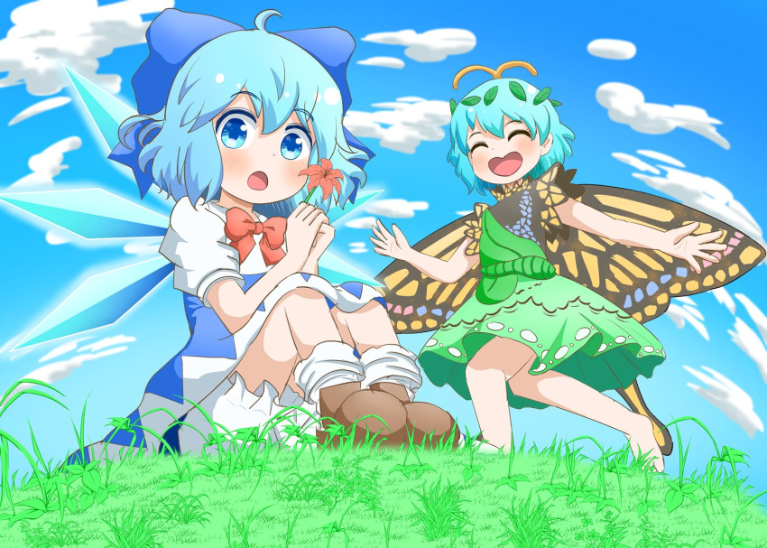 2girls :o ^_^ ahoge antennae barefoot bloomers blue_dress blue_eyes blue_hair blush bobby_socks brown_footwear butterfly_wings chestnut_mouth cirno closed_eyes clouds cloudy_sky commentary_request day dress eternity_larva fisheye flower grass green_dress hair_between_eyes happy holding holding_flower ice ice_wings knees_up koruti leaf leaf_on_head looking_at_viewer multiple_girls on_ground open_mouth running short_hair sitting sky smile socks touhou underwear white_legwear wings