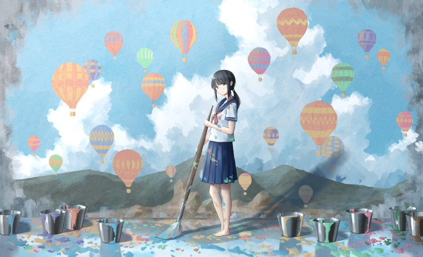 1girl aircraft anyotete barefoot black_hair brush bucket clouds highres hot_air_balloon looking_at_viewer mural original paint paint_splatter paint_stains painting_(object) ponytail school_uniform serafuku sky solo