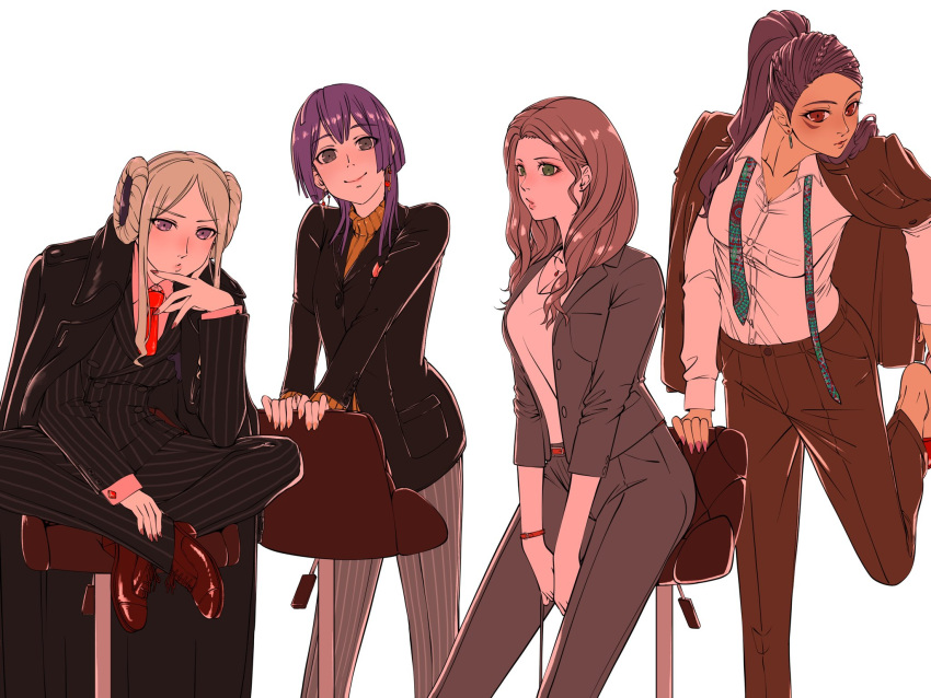 4girls aduti_momoyama alternate_costume bernadetta_von_varley brown_hair closed_mouth crossed_legs dark_skin dark_skinned_female dorothea_arnault earrings edelgard_von_hresvelg facial_mark fire_emblem fire_emblem:_three_houses formal green_eyes grey_eyes high_heels highres jewelry long_hair long_sleeves multiple_girls nail_polish necktie older pants petra_macneary ponytail purple_hair shoes simple_background sitting smile stool suit toe_cleavage violet_eyes white_hair