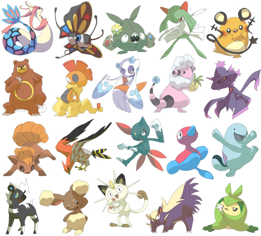 :d bear beautifly berry_(pokemon) black_eyes bug butterfly cat commentary dedenne english_commentary fangs flaaffy flower froslass gen_2_pokemon gen_3_pokemon gen_4_pokemon gen_5_pokemon gen_6_pokemon insect kirlia looking_at_viewer milotic one_eye_closed open_mouth pinap_berry pinkgermy pokemon pose rabbit scrafty simple_background smile standing standing_on_one_leg trubbish ursaring white_background
