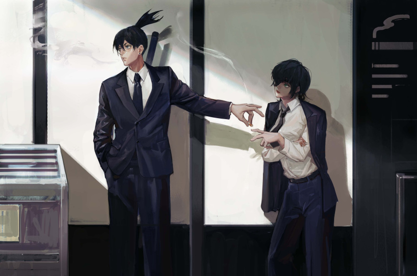 1boy 1girl absurdres belt black_belt black_eyepatch black_hair black_jacket black_neckwear black_pants black_suit blue_eyes chainsaw_man cigarette collared_shirt commentary dress_shirt ear_piercing eyepatch feet_out_of_frame formal fox_shadow_puppet hand_in_pocket hayakawa_aki_(chainsaw_man) high_ponytail highres himeno_(chainsaw_man) holding holding_cigarette jacket jacket_on_shoulders long_sleeves looking_at_another looking_away nazgul_(5511474) necktie neckwear one_eye_covered pants piercing shirt short_hair smoke smoking standing suit white_shirt