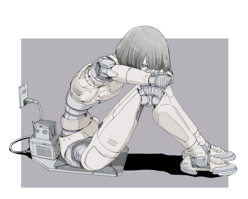 1girl android arms_on_knees charging_device electric_socket head_on_knees highres mechanical_parts muted_color sitting sitting_on_object sukabu