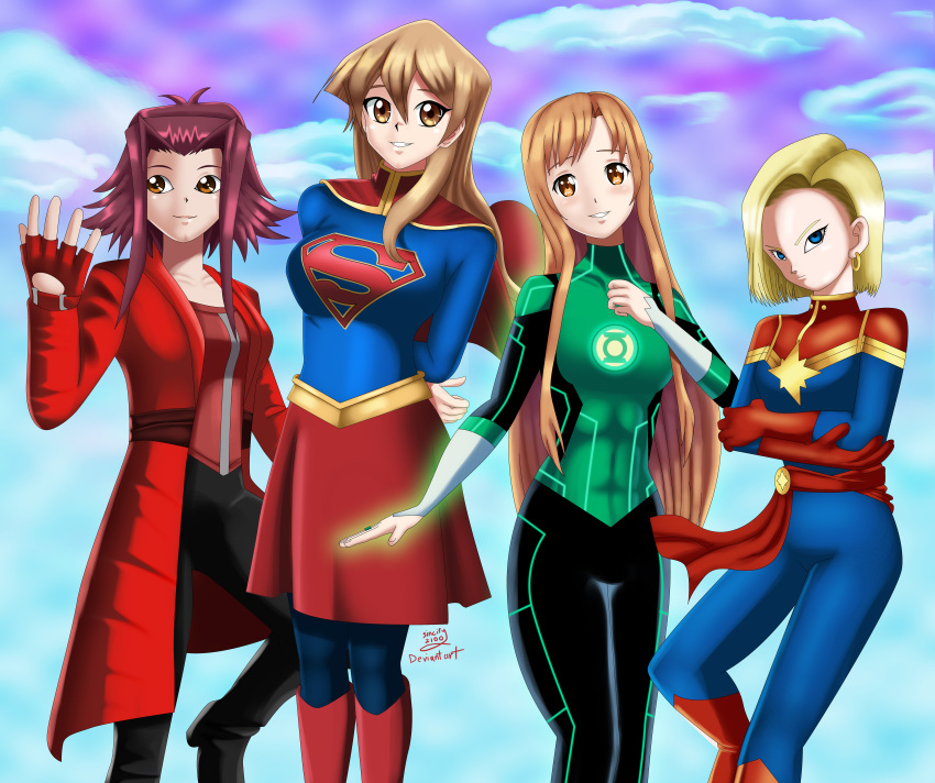 4girls android_18 arms_behind_back arms_folded asuna_(sao) black_suit blonde_hair blue_eyes blue_sky blue_suit brown_eyes brown_hair captain_marvel captain_marvelous_(cosplay) cosplay dc_comics flying glow glowing gold_belt green_lantern green_lantern_(cosplay) happy izayoi_aki long_hair looking_at_viewer orange_eyes red_cape red_jacket red_ribbon red_skirt redhead scarlet_witch scarlet_witch_(cosplay) short_hair sincity2100 sky smile star supergirl supergirl_(cosplay) sword_art_online symbol tenjouin_asuka white_gloves yellow_eyes yu-gi-oh! yuu-gi-ou yuu-gi-ou_5d's yuu-gi-ou_gx yuuki_asuna