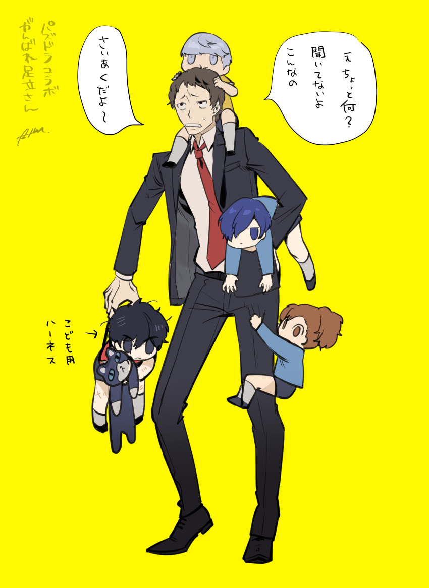 1girl 4boys absurdres adachi_tooru amamiya_ren black_hair black_jacket blue_hair brown_hair btmr_game carrying child formal hair_over_one_eye highres holding jacket long_sleeves morgana_(persona_5) multiple_boys narukami_yuu necktie pants persona persona_3 persona_3_portable persona_4 persona_5 ponytail red_neckwear shiomi_kotone signature silver_hair simple_background stuffed_animal stuffed_cat stuffed_toy suit sweat translation_request yellow_background younger yuuki_makoto
