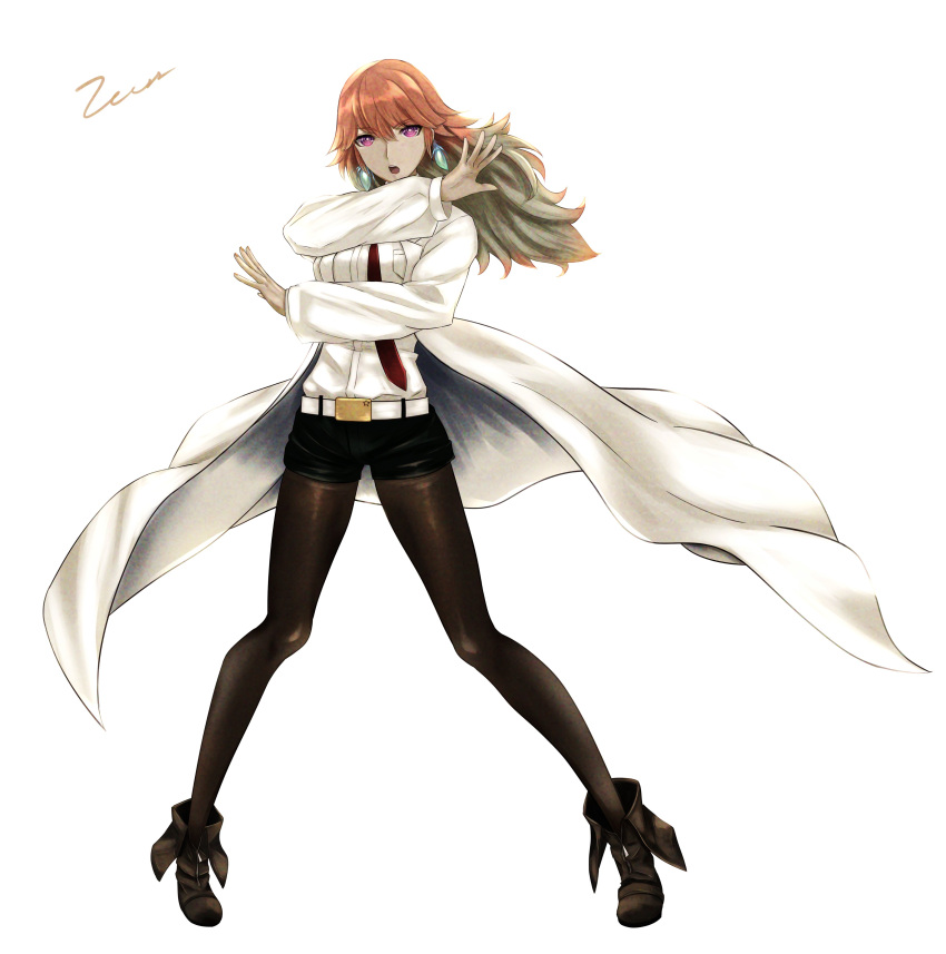 1girl :o absurdres brown_legwear coat cosplay english_commentary eyebrows_visible_through_hair full_body gradient_hair green_hair highres hololive hololive_english huke_(style) labcoat legwear_under_shorts long_hair long_sleeves looking_at_viewer makise_kurisu makise_kurisu_(cosplay) multicolored_hair necktie open_clothes open_coat open_mouth orange_hair pantyhose pose red_neckwear shorts signature simple_background solo standing steins;gate takanashi_kiara violet_eyes white_background zeiss