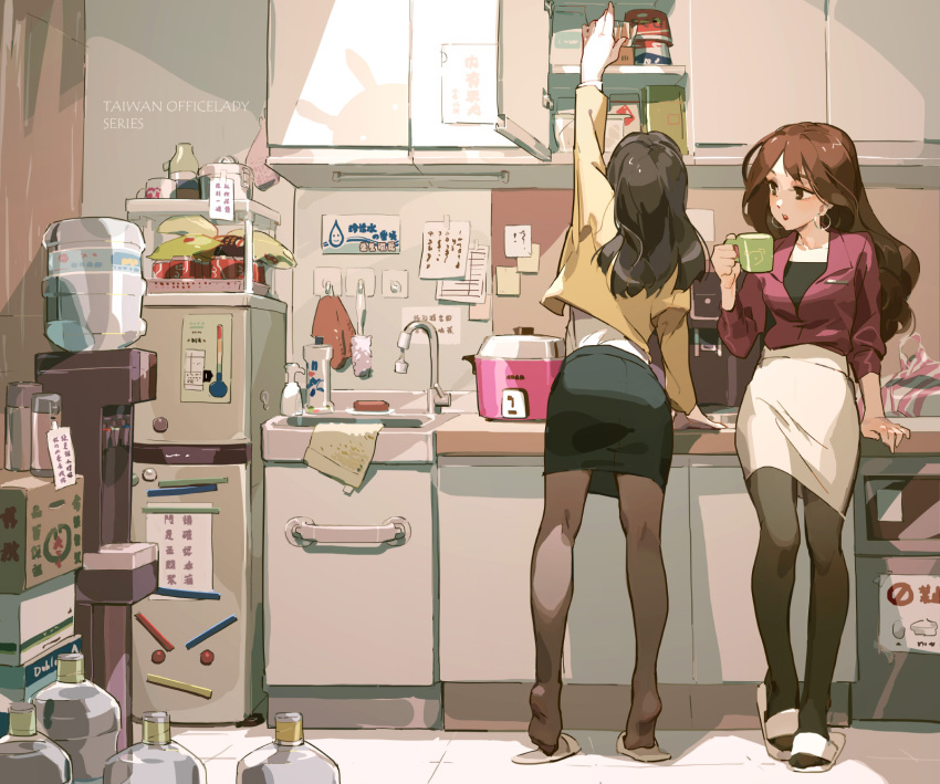 2girls arm_support arm_up bottle box brown_eyes brown_hair brown_legwear commentary_request cup cupboard earrings eyelashes faucet highres holding holding_cup jacket jewelry kitchen lipstick long_hair long_sleeves makeup multiple_girls office_lady original pantyhose pencil_skirt reaching red_jacket red_lips refrigerator sink skirt sleeves_past_elbows slippers standing taiwan tennohi tiptoes water_cooler