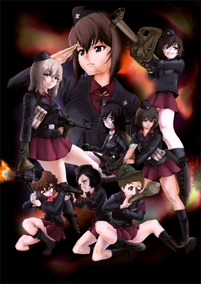 6+girls :d absurdres ahoge akaboshi_koume ankle_boots anti-tank_grenade assault_rifle bandaged_arm bandages bandaid bandaid_on_knee bangs bauer_(girls_und_panzer) black_eyes black_footwear black_hair black_headwear black_jacket black_legwear blush boots brown_eyes brown_hair bundled_charge closed_eyes closed_mouth colorized commentary cross-laced_footwear dress_shirt explosive extra eyebrows_visible_through_hair frown garrison_cap girls_und_panzer glasses gloves grenade greyscale grimace grin gun hair_between_eyes half-closed_eyes hat highres insignia iron_cross itsumi_erika jacket kneehighs kneeling kojima_emi kuromorimine_military_uniform lace-up_boots light_frown long_sleeves looking_at_viewer looking_to_the_side machine_gun mauko_(girls_und_panzer) medium_hair mg42 military military_hat miniskirt monochrome mp40 multiple_girls nishizumi_maho one_eye_closed one_knee open_mouth panzerfaust panzerschreck pleated_skirt red_shirt red_skirt rifle rocket rocket_launcher salute sangou_(girls_und_panzer) shirt short_hair silver_hair sketch skirt sling smile socks standing stg44 stielhandgranate submachine_gun swept_bangs uniform v-shaped_eyebrows very_short_hair wavy_hair weapon wing_collar yoyokkun