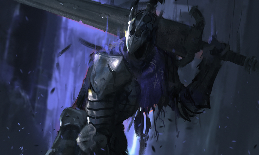 1boy armor artorias_the_abysswalker blue_capelet breastplate capelet dark_souls faceless faceless_male greatsword helmet holding holding_sword holding_weapon knight male_focus over_shoulder pauldrons shoulder_armor sketch snatti solo souls_(from_software) sword upper_body weapon weapon_over_shoulder