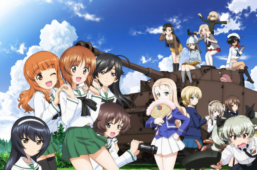 6+girls :d ;d ahoge akiyama_yukari anchovy_(girls_und_panzer) anglerfish anzio_school_uniform asymmetrical_bangs bangs bc_freedom_(emblem) bc_freedom_military_uniform belt binoculars black_belt black_eyes black_footwear black_hair black_legwear black_neckwear black_ribbon black_skirt blazer blonde_hair blouse blue_eyes blue_footwear blue_headwear blue_jacket blue_shirt blue_skirt blue_sky blue_sweater blue_vest blunt_bangs boots bow bowtie braid brown_eyes brown_hair brown_jacket carrying casual chi-hatan_military_uniform clouds cloudy_sky collared_blouse collared_shirt cooking covering_mouth crossed_legs cup darjeeling_(girls_und_panzer) dark_skin day dixie_cup_hat dress_shirt drill_hair emblem eyebrows_visible_through_hair fan fang folding_fan frown girls_und_panzer green_eyes green_hair green_jacket green_skirt grey_jacket grey_legwear grey_shirt grey_skirt ground_vehicle hair_bow hair_intakes hair_over_one_eye hair_ribbon hairband hand_in_hair hand_on_hip hand_on_own_knee hands_on_another's_shoulders hat hat_feather high-waist_skirt high_collar highres holding holding_binoculars holding_cup holding_fan holding_instrument holding_pipe hot_dog instrument isuzu_hana jacket kantele katyusha_(girls_und_panzer) kay_(girls_und_panzer) keizoku_school_uniform knee_boots kuromorimine_school_uniform leaning_forward light_brown_hair light_frown loafers long_hair long_sleeves looking_at_viewer looking_back marie_(girls_und_panzer) medium_skirt messy_hair mika_(girls_und_panzer) military military_hat military_uniform military_vehicle miniskirt motor_vehicle multiple_girls music navel neckerchief necktie nishi_kinuyo nishizumi_maho nishizumi_miho official_art ogin_(girls_und_panzer) one_eye_closed one_side_up ooarai_naval_school_uniform ooarai_school_uniform open_clothes open_jacket open_mouth orange_eyes orange_hair outdoors pantyhose panzerkampfwagen_iv pipe playing_instrument pleated_skirt ponytail pravda_school_uniform red_bow red_eyes red_shirt red_skirt reizei_mako ribbo