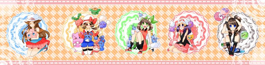 5girls :d ;) alternate_color animal_on_head azurill bird bird_on_head black_shorts blissey blue_shirt boots checkered checkered_background closed_mouth commentary_request creature dawn_(pokemon) drifloon egg flat_chest floating full_body gen_1_pokemon gen_2_pokemon gen_3_pokemon gen_4_pokemon gen_5_pokemon hat hat_ribbon highres hilda_(pokemon) holding holding_pokemon hoppip jigglypuff jumpluff leaf_(pokemon) long_image looking_at_viewer mareep marill may_(pokemon) miniskirt multiple_girls munna on_head one_eye_closed open_mouth pokemon pokemon_(creature) pokemon_(game) pokemon_bw pokemon_dppt pokemon_emerald pokemon_frlg pokemon_hgss pokemon_on_head pokemon_rse ponytail porkpie_hat red_skirt ribbon shiny_pokemon shirt shoes shorts sidelocks sitting skiploom skirt smile solosis standing twintails whimsicott white_headwear wide_image yukiu_(yukiusagi913)