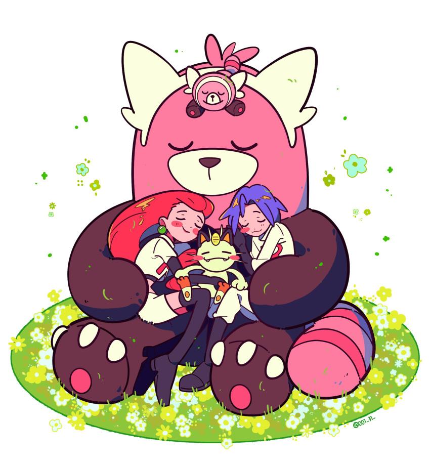1boy 1girl bewear chueog gen_1_pokemon gen_7_pokemon highres james_(pokemon) jessie_(pokemon) meowth pokemon pokemon_(anime) pokemon_(creature) purple_hair sleeping sleepy stufful team_rocket