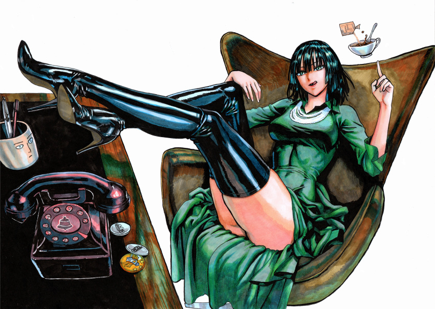 1girl absurdres bangs black_footwear black_hair boots breasts cameo chair coffee coffee_cup coffee_mug collared_dress crossed_ankles crossed_legs cup desk disposable_cup dress fingernails fubuki_(one-punch_man) full_body green_eyes high_heel_boots high_heels highres jewelry jigme large_breasts leather leather_boots legs_up licking_lips long_dress long_legs marker_(medium) mug murata_yuusuke_(style) necklace office_chair official_style one-punch_man phone pins red_dress saitama_(one-punch_man) short_hair sleeves_pushed_up solo stiletto_heels telekinesis thick_thighs thighs tongue tongue_out traditional_media white_background